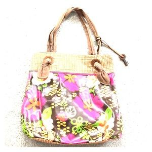🗝Fossil floral bag with leather trim beautiful🗝